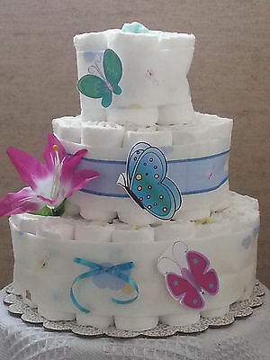 3 Tier Diaper Cake Turquoise Pink Butterfly Butterflies Baby Shower Centerpiece