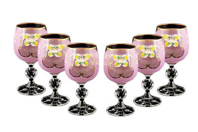 SET 6pc Bohemian Crystal Colored Glasses, Antique PINK Enamel Wine Goblets