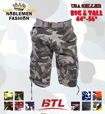 Men Big And Tall Camoflauge Cargo Shorts With Belt Twill Size 44~56