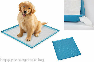 RUBBER WATERPROOF PUPPY PEE PAD HOLDER Dog Pet Housebreaking Training Tray Pan
