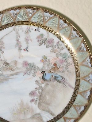 Antique Hair Painted Birds Kutani Plate Japan HP River Village Scene Signed