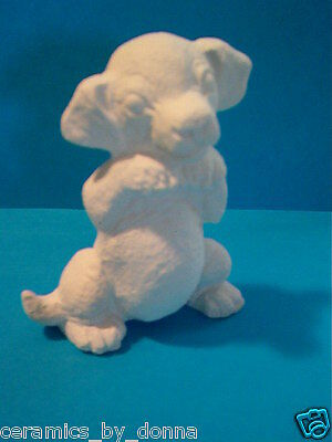 Begging Puppy dog Ready to paint Ceramic Bisque Playful 4 inch Tall