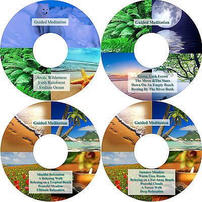 18 x Guided Meditation Relaxation Sessions 4 CDs in Presentation Case Stress Aid