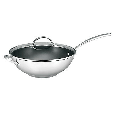 RACO Chef Choice Stainless Steel Non Stick 30cm Wok With LidInduction NEW