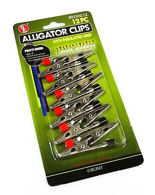 "NEW 12pc 2"" Alligator Clip Set Negative/Positive Insulated Post Electrical Clamp"
