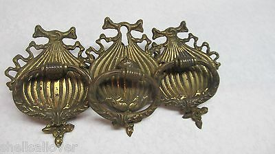 3  Vintage Brass Single Hole  Drawer Pulls