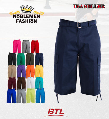 Btl Men's Cargo Shorts With Belt Cotton Twill 19 Colors Size 32~42