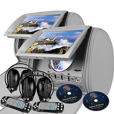 """Gray 2x Pillow 9"""" LCD Car Headrest Game IR Headsets Journey Monitor DVD Player"""