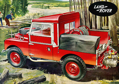 Land Rover Series 1 Fire Engine Retro A3 Poster Print From Classic Advert