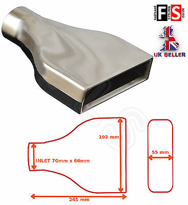 """UNIVERSAL STAINLESS STEEL EXHAUST TAILPIPE 2.75"""" INLET YFX-0002-Ford 3"""