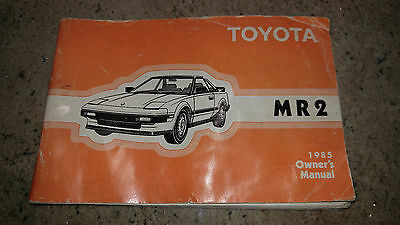 1985 Toyota MR2 MR-2 Factory Owners Owner's User Manual Book