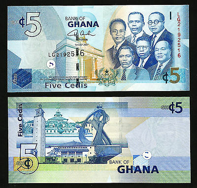 GHANA 5 CEDIS 1 JULY 2007 UNCIRCULATED P.38a