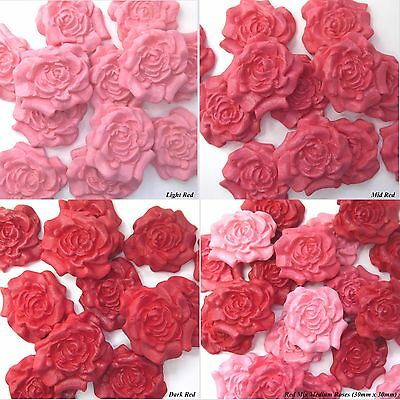 50 or 100 Red Pink Sugar Roses edible wedding cake decorations 4 OPTIONS 30mm