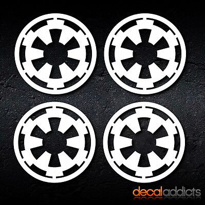 4x Star Wars Imperial Empire Logo Insignia Decals Stickers - 70mm dia