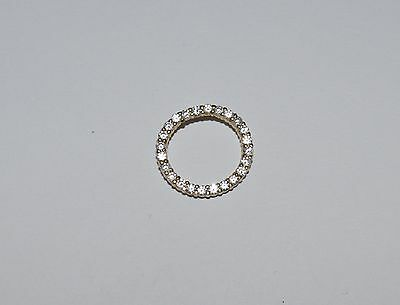 Signed Jcm Golden Tone Sterling Silver And Cz Round Pendant