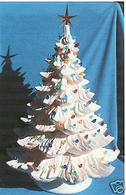 "21"" Ponderosa Pine White Glaze Christmas Tree Ceramic Ready To Light"