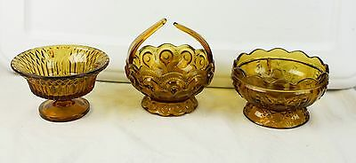 Lot of 3 Patterned Amber Glass Bowl Collectibles Pedestal Bases 1 With Handles
