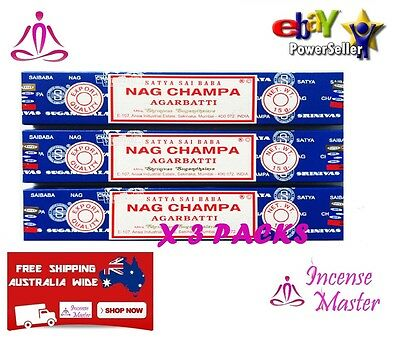 NAG CHAMPA Satya Sai Baba Incense Sticks 15g X 3 PACKS Authentic + FREE SAMPLES