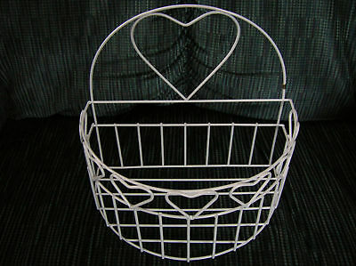 """Wire Heart Shaped Basket (White) 8""""x 7 3/4"""""""