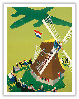 Holland Windmill Vintage Royal Dutch Airlines KLM Art Poster Print Giclée