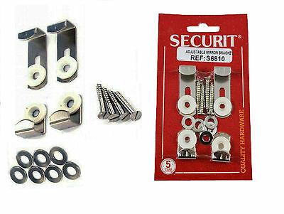 4 PCS Mirror & Glass Hanging Kit Wall Bracket Adjustable Clips Set With Fixings