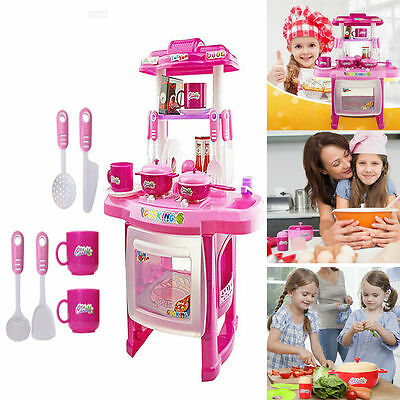 Pro 13pcs Kids Kitchen Cooking Girl Pretend Toy Play Set Lights Sound Electronic