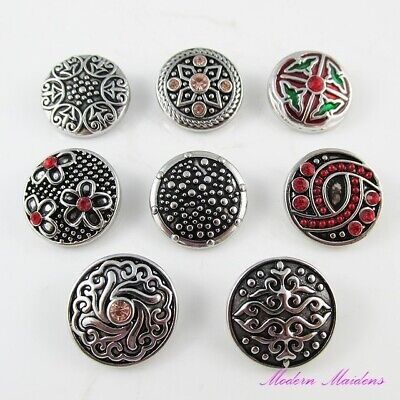 Assorted Metal & Rhinestone Noosa Style Snap on Chunk Button 20mm Select Design