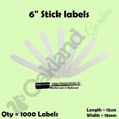 """1000 X 6"""" White Plant Stick Labels 15Cm Plastic Seed Tray ## Marker Pen ##"""