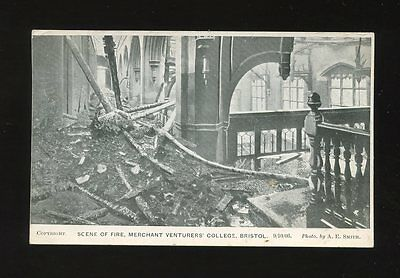 Gloucestershire BRISTOL Merchant Venturers Scene of  Fire disaster 1906 PPC