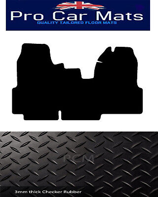 Ford Transit Mk7 Van (2007-2014) Black Checker  Rubber Tailored Car Floor Mats