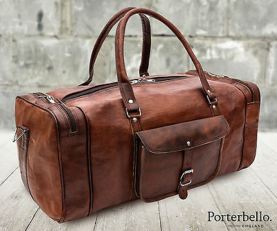 Large Brown Handmade Leather Holdall Duffle Gym Travel Weekend Bag RRP £105