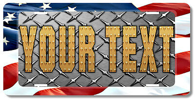 Custom Personalized License Plate Tag American Flag DIAMOND PLATE Look Gift Car