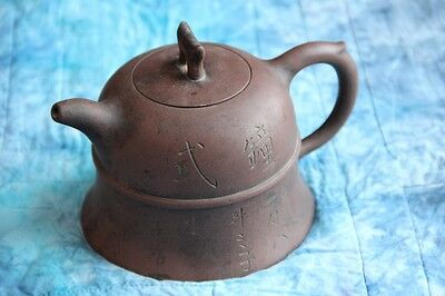 Fine ANTIQUE CHINESE Pottery YIXING TEAPOT signed marked CALLIGRAPHY Shao Youlan