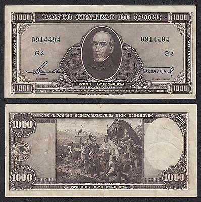 Chile   1000 Pesos  ND 1947-1959 Pick 116(4)  MBC = XF