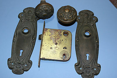 Antique brass door knob set w/ original Olympian Y&T back plates mortise lock