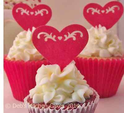 Red Heart Cake Decorations - Valentines Day - Edible Wafer Stand Up Hearts x 12