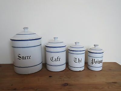 Antique French blue and white enamelware kitchen storage jars 1930s