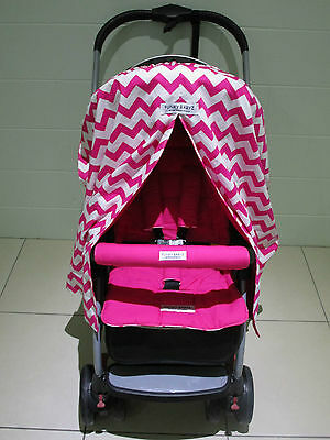 *PINK CHEVRON*sunshade/snooze curtain *PINK*pram liner set-*universal fitting*