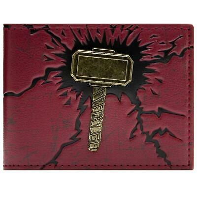 New Official Awesome Avengers Thor`s Gold Hammer & Red Bi-Fold Wallet