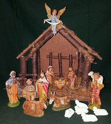 Vintage Large Nativity scene set of 15 composition ITALY  figures & creche NICE