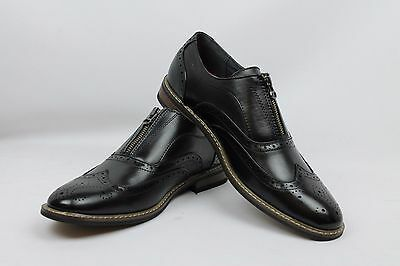New Men's Black Dress Shoes Wing Tip Zipper Perforation Detai Parrazo Wooden/6