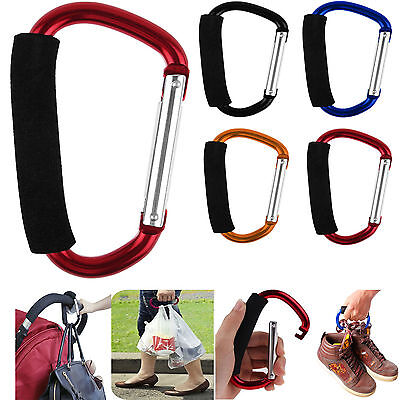 Universal Large Buggy Clip Shopping Bag Pushchair Hook Carabiner Uk 1X/5X