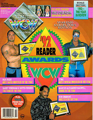Wcw Magazine March 1993 Double Sided Poster 1992 Readers Awards Sting Wwe