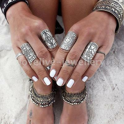4PCS Punk Beach Totem Rings Carved Antique Silver Midi Finger Ring Knuckle Ring