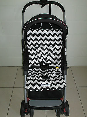 *BLACK CHEVRON*universal stroller,pram,car seat liner set *NEW*