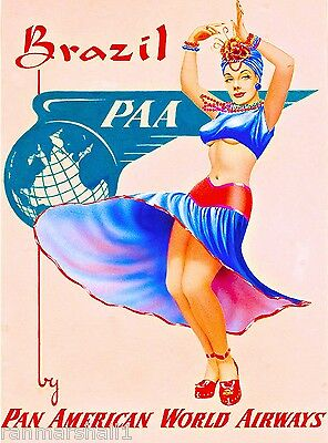 Brazil by Airplane South America American Vintage Travel Advertisement Poster