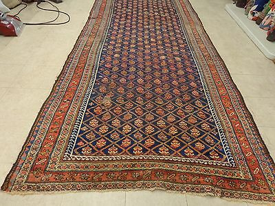 5 x 14 Antique and Rare Tribal Persian Veramin Rug..blue field