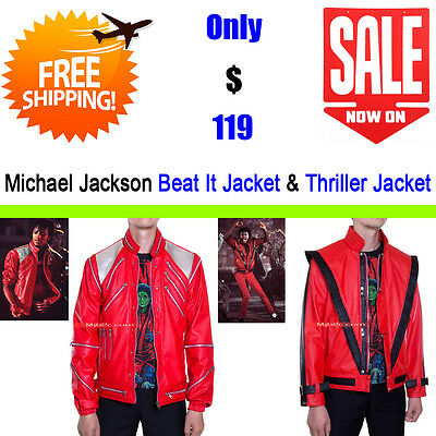 Michael Jackson Costume - Beat It & Thriller Jacket - Leather Clothing - Red