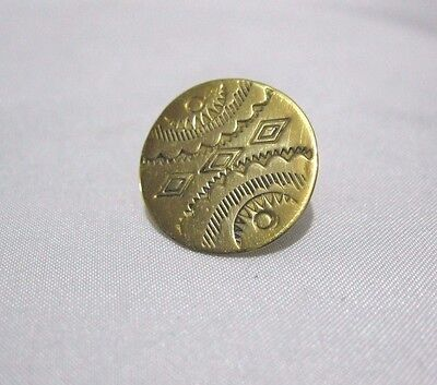 Vintage Signed Rrl  Navajo Indian Gold Tone  Button Accent Piece Jewelry Repair