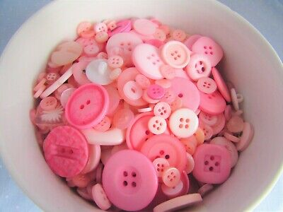 20 50 /& 100 Assorted Sizes and Shades of Pink Buttons in Asst Packs of 10
